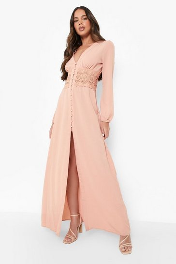 Rose pink Lace Waist Button Maxi Dress