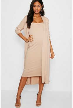 Stone beige Bandeau Dress And Duster Two-Piece Set