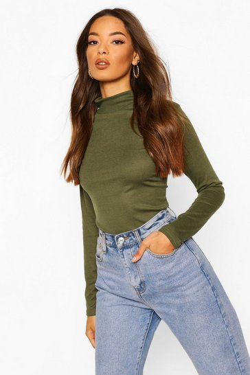 Khaki Turtle Neck Rib Knit Jumper