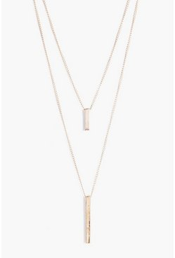 Gold Double Bar Layered Necklace
