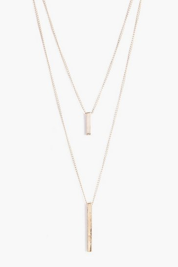 Gold metallic Double Bar Layered Necklace