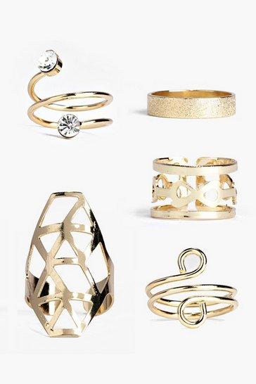 Gold metallic Spiral Mixed Ring Set