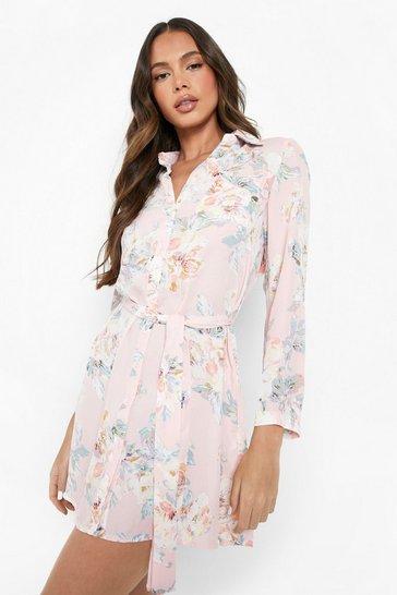 Pink Floral Shirt Dress