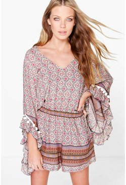 Multi Zarah Tassel Sleeve Bohemian Playsuit