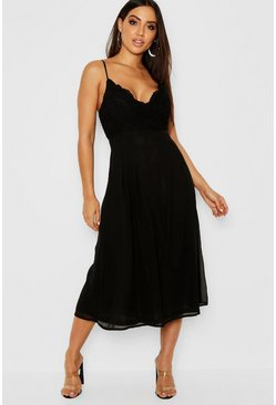 Black Crochet Lace Strappy Chiffon Midi Bridesmaid Dress