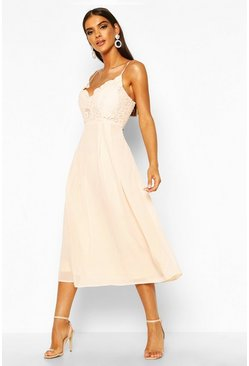 Blush pink Crochet Lace Strappy Chiffon Midi Bridesmaid Dress