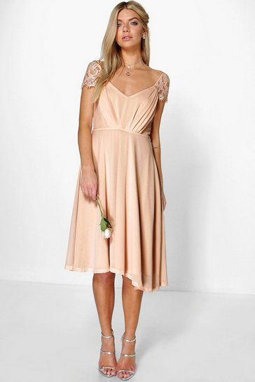Blush pink Chiffon Lace Midi Skater Bridesmaid Dress