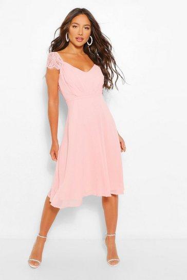 Pink Chiffon Lace Midi Skater Bridesmaid Dress