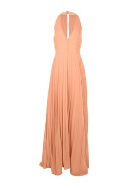 Apricot Chiffon Pleated Plunge Maxi Bridesmaid Dress