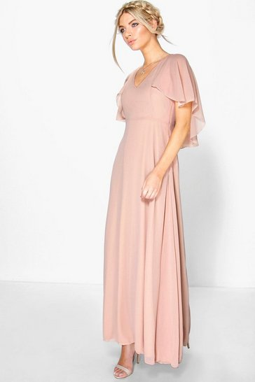 Blush pink Chiffon Cape Sleeve Maxi Bridesmaid Dress