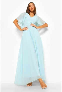 Mint green Chiffon Cape Sleeve Maxi Bridesmaid Dress