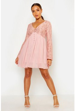 Blush pink Corded Lace Button Woven Smock Dress