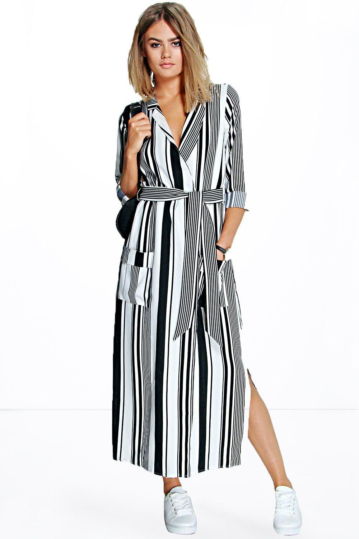 Women's Striped Maxi Shirt Dress | Boohoo UK