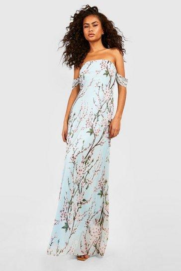Mint green Floral Off The Shoulder Maxi Dress