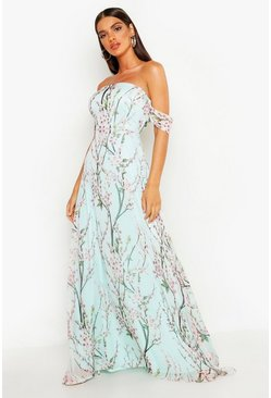 Mint green Floral Off The Shoulder Maxi Dress