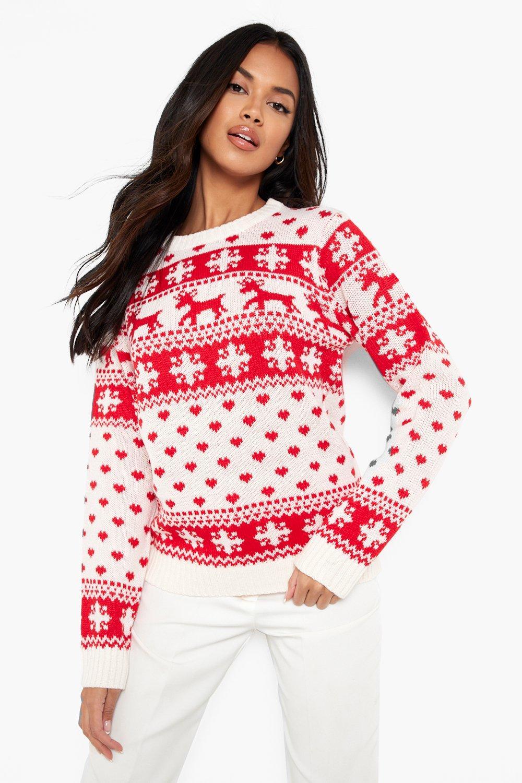 Christmas Jumpers Reindeer, Hearts & Snowflake Christmas Jumper