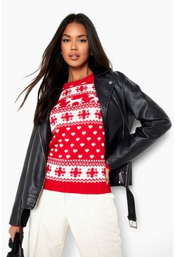 Red Reindeer, Hearts & Snowflake Christmas Jumper