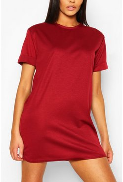 Wine red Roll Back Ponte Shift Dress
