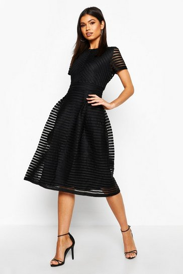 Black Boutique Full Skirted Prom Midi Dress
