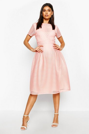 Blush pink Boutique Full Skirted Prom Midi Dress