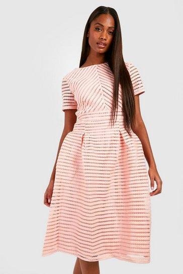 Blush pink Boutique Full Skirted Prom Midi Dress