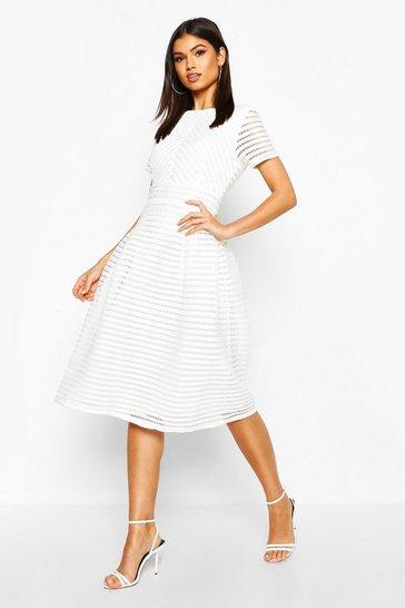Ivory white Boutique Full Skirted Prom Midi Dress