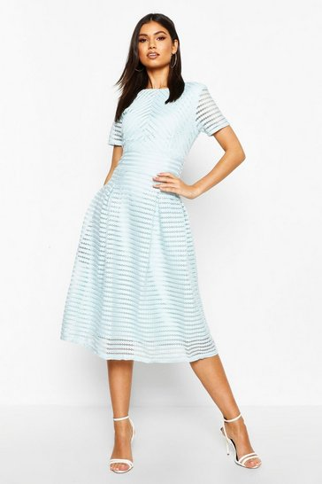 Sky blue Boutique Full Skirted Prom Midi Dress