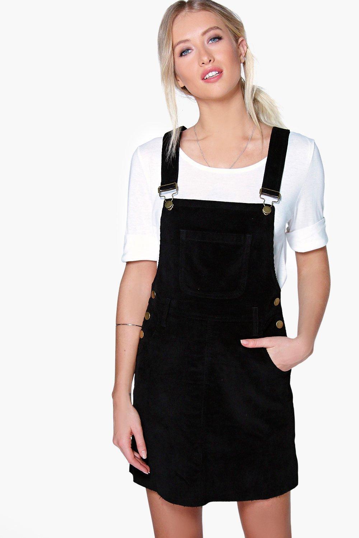 Cord Dungaree Pinafore Dress   Boohoo UK