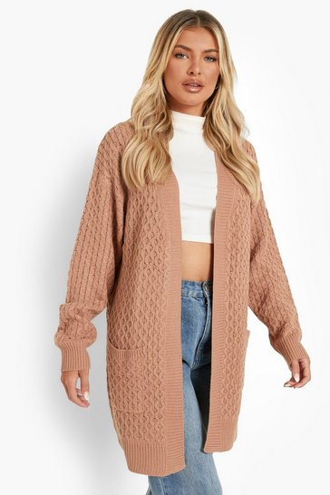 Camel beige Cable Cardigan With Pockets