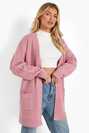 Rose pink Cable Cardigan With Pockets
