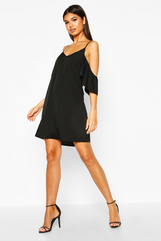 SALE Frill Detail Open Shoulder Shift Dress