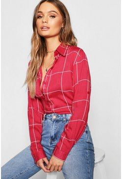 Wine red Large Check Oversized Shirt