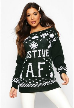 Bottle green Festive AF Slogan Christmas Jumper