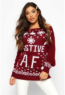 Wine red Festive AF Slogan Christmas Jumper