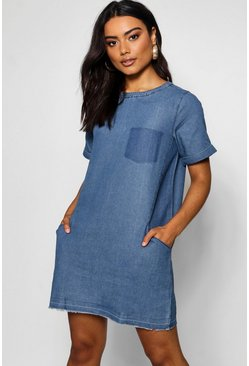 Mid blue blue Slouch Pocket Denim Dress