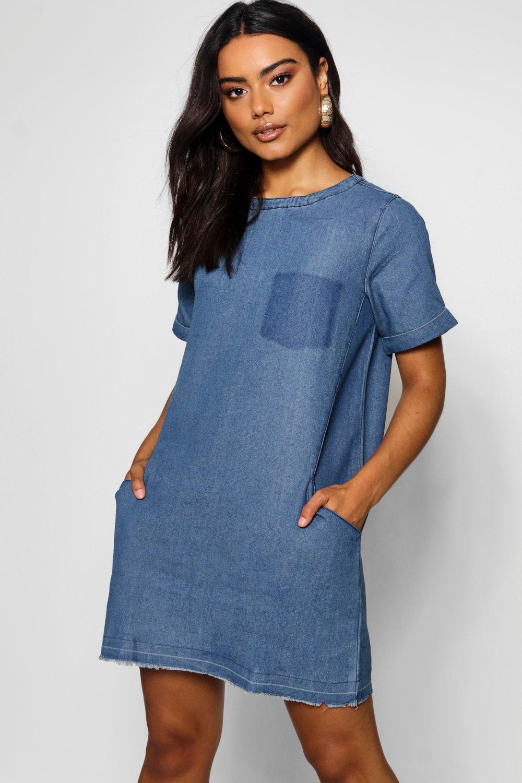 Denim Slouch Pocket Denim Dress