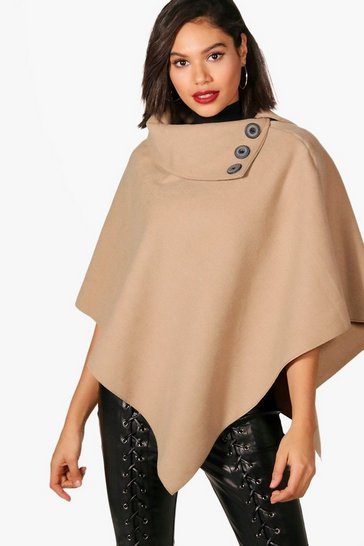 Camel beige Cape With Buttons