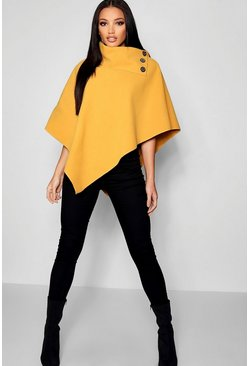 Mustard yellow Cape With Buttons