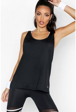 Black Fit Performance Basic Running Tank Top