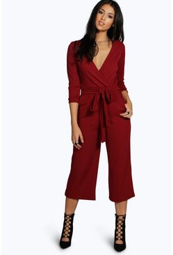Berry Roll Sleeve Relaxed Culotte Jumpsuit