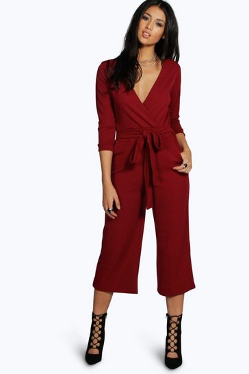 Berry red Roll Sleeve Relaxed Culotte Jumpsuit