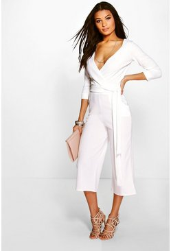 Ivory white Roll Sleeve Relaxed Culotte Jumpsuit