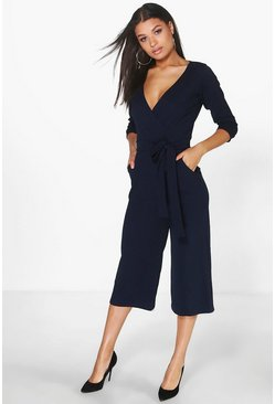 Navy Roll Sleeve Relaxed Culotte Jumpsuit