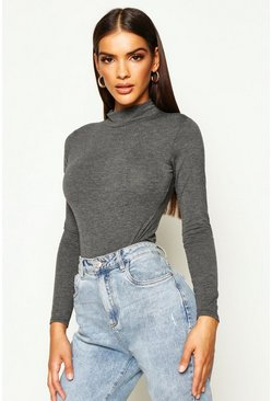 Charcoal grey Basic Turtle Neck Long Sleeve bodysuit