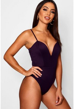 Purple Deep Plunge Strap Bodysuit