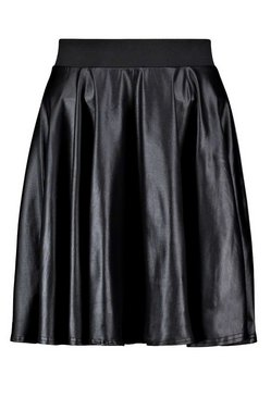 Black Roza Coated Leather Look Skater Skirt