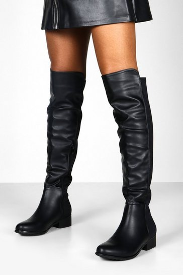Black Elastic Back Over The Knee High Boots
