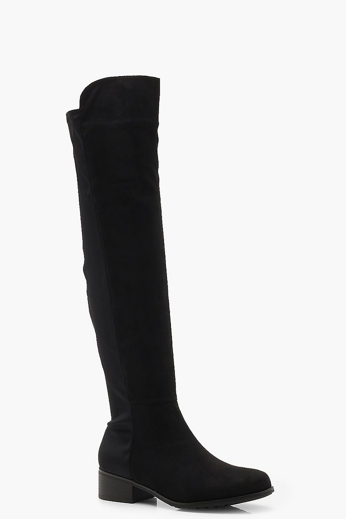 flat over knee boots black uk