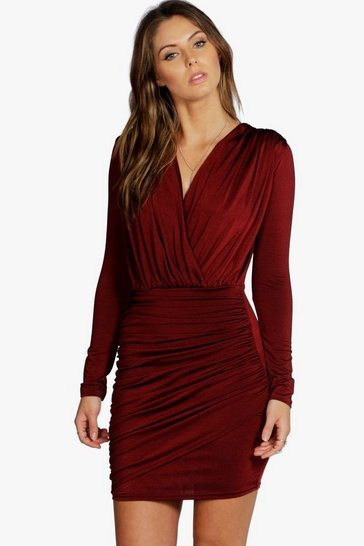 Berry red Slinky Wrap Long Sleeve Bodycon Dress