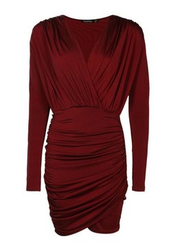 Berry Slinky Wrap Long Sleeve Bodycon Dress